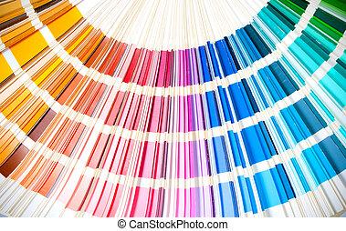 coloré, swatches, livre, ouvert, projection, une, étalage,...