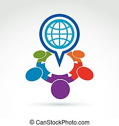 coloré, symbole., illustration, planète, vecteur, parole, meeting., international, bulle