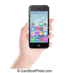 coloré, téléphone, mobile, icônes, application, noir, intelligent