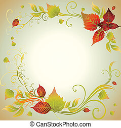 coloré, t, leafs., cadre, automne