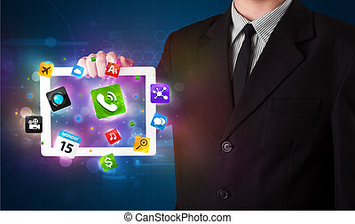 coloré, tablette, icônes, moderne, apps, jeune, tenue, homme affaires