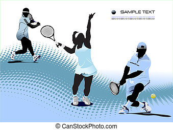 coloré, tennis, player., illustration, vecteur, concepteurs