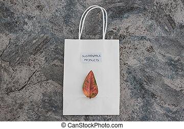 coloré, texte, achats, soutenable, sac, feuille, produits, il
