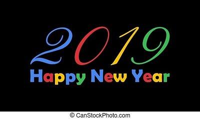 coloré, texte, animation., isolé, nouveau, arrière-plan., clair, noir, année, 2019, blanc, heureux