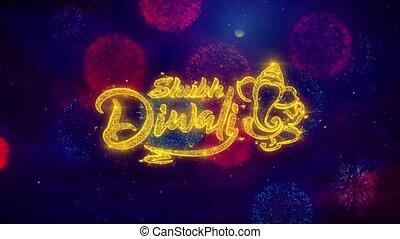 coloré, texte, diwali, feux artifice, salutation, particules...