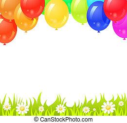 coloré, texte, espace, ton, fond, ballons