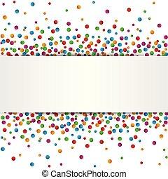 coloré, texte, isolé, endroit, fond, confetti, blanc, bannière