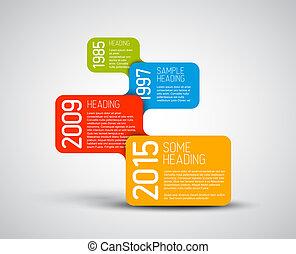 coloré, timeline, infographic, gabarit, rapport, bulles