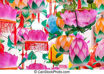 coloré, traditionnel, formé, lanternes, chinois, lotus