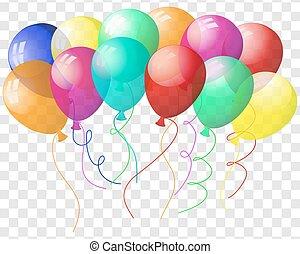 coloré, transparent, ballons