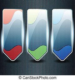 coloré, transparent, verre, bannières