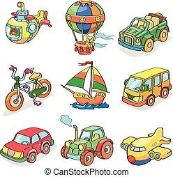 coloré, transportation-, dessin animé, collection