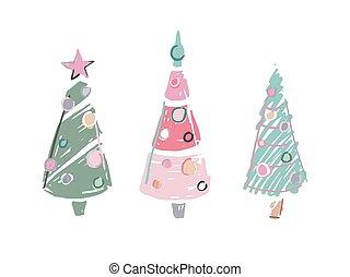 coloré, trois, arbres, dessin animé, gribouiller, noël