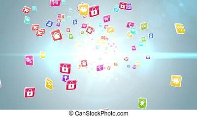 coloré, tuiles, app, icône