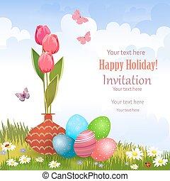 coloré, tulipes, oeufs, vase, invitation, meado, carte