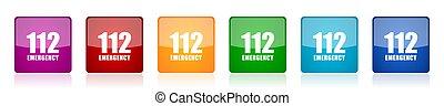 coloré, urgence, vecteur, illustrations, toile, lustré, 6, 112, carrée, mobile, conception, applications, options, ensemble, icône, nombre