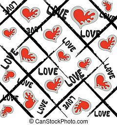 coloré, valentine, lignes, fond, cœurs, blanc, jour