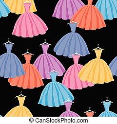 coloré, vecteur, seamless, femme, silhouettes, fond, robes