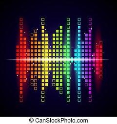 coloré, vecteur, son, studio, voix, formes, visualisation, vagues, musique, arrière-plan., logotype, compensateur