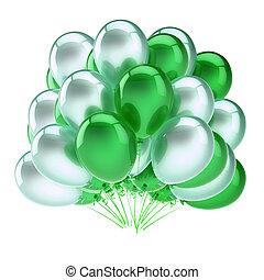 coloré, vert, fête, blanc, ballons, tas