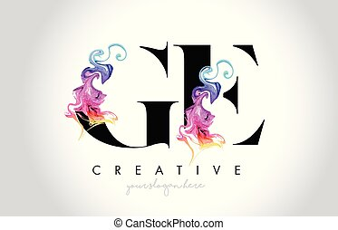 coloré, vibrant, leter, créatif, ge, vecteur, conception, ...