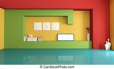 coloré, vide, intérieur