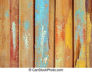 coloré, vieux, bois, planche, surface, peint