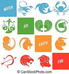 coloré, zodiaque, étoile signe