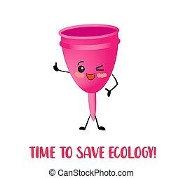 color., ピンク, 環境, menstrual, 白, バックグラウンド。, conservation., cup., 隔離された