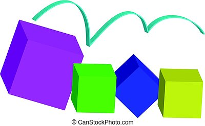 Color 3D cubes - abstract background