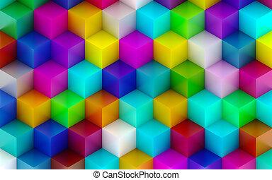 Color 3D Cubes Background