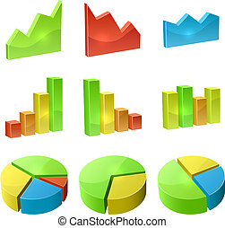 Color 3D graph icon vector set isolated on white background.