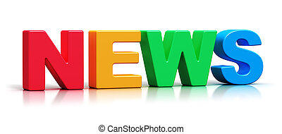 Color 3D News word text