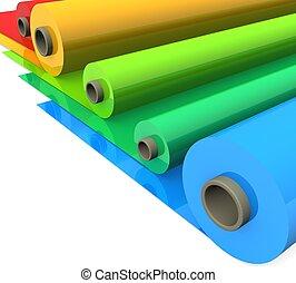 color, 3d, rollos, plástico