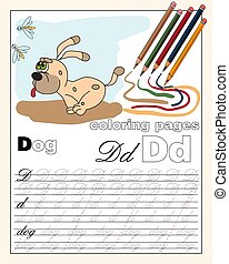 color 4 illustration of the English alphabet page with animal drawings with a line for writing English letters