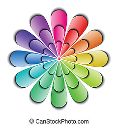 Color abstract flower isolated on white background, vector illustration