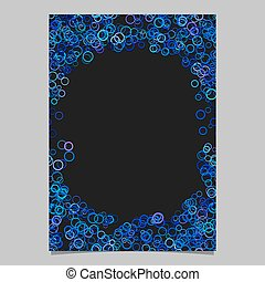Color abstract random circle design page template - vector blank brochure background graphic from blue rings