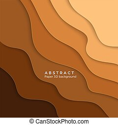 Color abstract sand background. Paper cut yellow gradient. Layer yellow wavy paper. Vector illustration