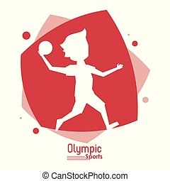 color abstract scene with silhouette faceless handball player olympic sport