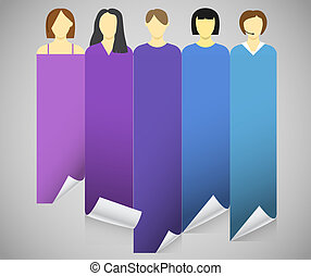 Color account avatars with bending paper banners. Template...