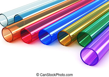 Macro view of set of color acrylic plastic tubes isolated on white background with selective focus effect