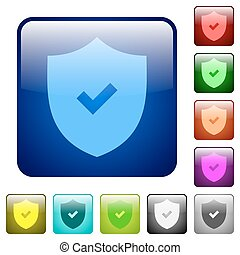 Color active security square buttons