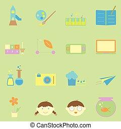 color, actividades, conjunto, niño, iconos