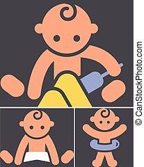color, actividades, niños, icono