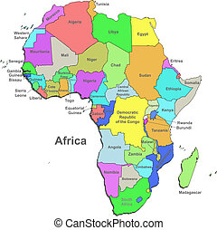 Color Africa map over white