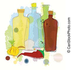color agua, pimienta, botellas, vector, cebolla