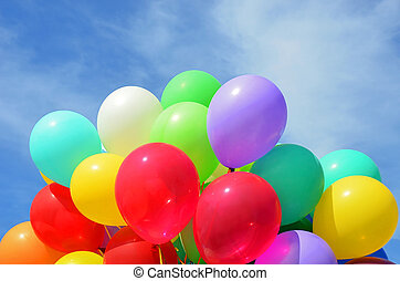 Color air balloon on blue sky background