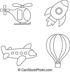 Color air transport. Coloring page for kids.