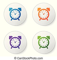 Color Alarm clock icon isolated on white background. Wake up, get up concept. Time sign. Set color icon in circle buttons. Vector Illustration