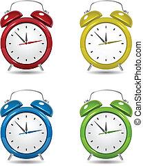 Color Alarm clock set. close up on